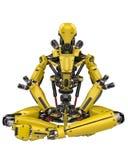 Bourdon superbe de robot jaune méga faisant le yoga à un arrière-plan blanc