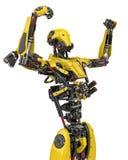 Bourdon superbe de robot jaune méga victorieux à un arrière-plan blanc