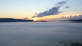 Bourdon volant dedans pendant le lever de soleil sur le paysage brumeux banque de vidéos