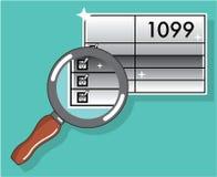 Bourdonnement de feuille d'impôt 1099 par l'éclat d'argent de vecteur de loupe Images libres de droits