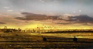 Bourdonnement tiré des personnes au coucher du soleil Les gens se tenant et observant au coucher du soleil en mer la Mer Caspienn Photo stock
