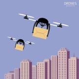Bourdons d'air portant le carton, fond de paysage urbain Photos stock