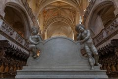 Gothic interior of Brou monastery church, France stock photo