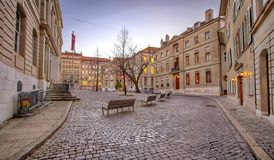 Bourg Saint-Pierre place, Geneva, Switzerland(HDR). View on Bourg Saint-Pierre place by sunset, old city in Geneva, Switzerland (HDR Stock Image