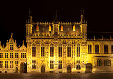 Bourg square at night, Bruges. Belgium Stock Photos