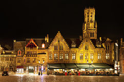 Bourg square at night, Bruges. Belgium Stock Photography