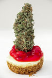 Bourgeon de marijuana sur le gâteau au fromage Photo libre de droits