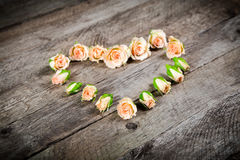 Bourgeons crèmes de rose de rose dans la forme de coeur Photographie stock libre de droits