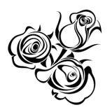 Bourgeons de Rose. Silhouettes noires. illustration de vecteur