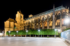 Bourges Cathedral - France. Bourges Cathedral, Roman Catholic church located in Bourges, France at night. It is dedicated to Saint Stephen and is the seat of the Royalty Free Stock Images