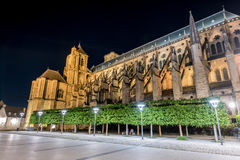 Bourges Cathedral - France. Bourges Cathedral, Roman Catholic church located in Bourges, France at night. It is dedicated to Saint Stephen and is the seat of the Stock Photo