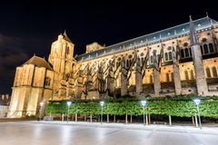 Bourges Cathedral - France. Bourges Cathedral, Roman Catholic church located in Bourges, France at night. It is dedicated to Saint Stephen and is the seat of the Royalty Free Stock Photo