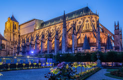 Bourges France. The cathedral at night. Bourges, France royalty free stock images