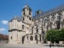 Bourges, France. The garden and the Cathedral Saint-Etienne in  Bourges,France Royalty Free Stock Image