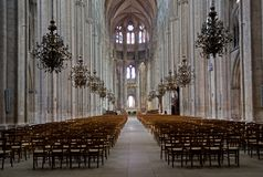 Bourges, France. Interior gotique Cathedral Saint-Etienne of Bourges,France stock photo