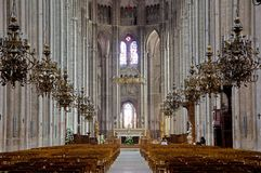 Bourges, France. Interior gotique Cathedral Saint-Etienne of  Bourges,France Stock Images