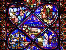 Bourges, France. Stained glass window in gotique Cathedral Saint-Etienne of  Bourges,France Stock Images
