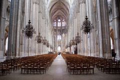 Bourges. Interior gotique Cathedral Saint-Etienne of Bourges, France royalty free stock photo