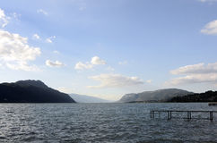 Bourget lake and mountains Royalty Free Stock Photography