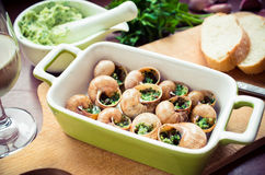 Bourgogne snails. With garlic butter Royalty Free Stock Images