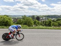 The Cyclist Olivier Le Gac - Criterium du Dauphine 2017. Bourgoin-Jallieu, France - 07, May, 2017: The French cyclist Olivier Le Gac of FDJ Team riding during Stock Image