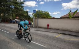 The Cyclist Alexey Lutsenko - Criterium du Dauphine 2017 Royalty Free Stock Photos