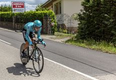 The Cyclist Bakhtiyar Kozhatayev - Criterium du Dauphine 2017. Bourgoin-Jallieu, France - 07, May, 2017: The Kazakh cyclist Bakhtiyar Kozhatayev of Astana Team Stock Images