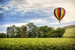 bourgondië Hete luchtballon over de wijngaarden van Bourgondië frankrijk stock fotografie