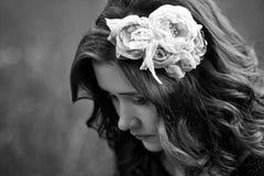 Bouring flicka i svartvitt Fotografering för Bildbyråer