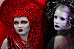 Creative closeup portrait of fashionable bride,model,girl,woman and strong,serious,angry,dangerous evil look,eyesight on the black Stock Image