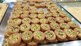 Bourma with pistachios. Lebanese sweets. Lebanese cuisine. Sidon, Lebanon. June, 2019 stock photography
