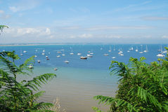 Bournemouth bay. England, yachts in foreground from Old Harry Rocks Royalty Free Stock Image