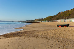 Bournemouth beach Dorset England UK with boat sea and blue sky Stock Image
