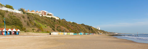 Bournemouth beach Dorset England UK near to Poole. Known for beautiful sandy beaches sand and blue sky, a panoramic view Royalty Free Stock Photos