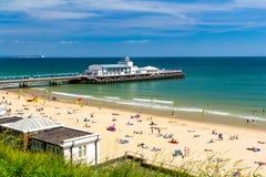Bournemouth Beach Dorset. Overlooking Bournemouth Beach and Pier Dorset England UK Europe Stock Images