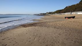 Bournemouth beach England UK near to Poole known for beautiful sandy beaches stock footage