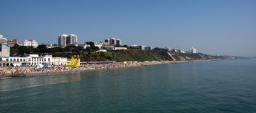 Bournemouth Beach on the hottest day in April. The hottest April on record since the 1940's in the UK. People flock to the nations beaches. This photo was taken Royalty Free Stock Photo
