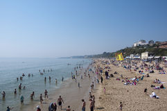 Bournemouth Beach on the hottest day in April Royalty Free Stock Photos
