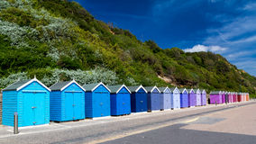 Bournemouth Beach Huts. Colourful wooden beach huts at Bournemouth on the South Coast of England UK Europe Stock Images