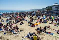 Bournemouth Beach. In July 2013 during a prolonged period of fine weather in the United Kingdom Royalty Free Stock Photos