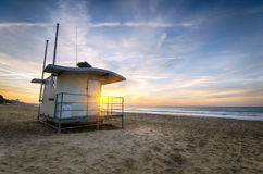 Bournemouth Beach. A Lifeguard hut on at sunrise  at Durley chine on Bournemouth beach in Dorset Royalty Free Stock Photography