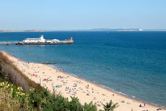 Bournemouth Beach and Pier. Bournmouth Beach and Pier with the Isle of Wight in the background. Bournemouth is one of the most popular seaside resorts in the UK Royalty Free Stock Image