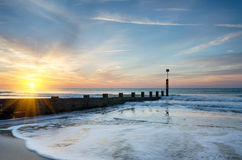 Bournemouth Beach. Sunrise on Bournemouth beach in Dorset Stock Photography