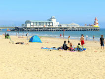 Bournemouth, Dorset. The beach and pier in September at Bournemouth, Dorset, England, UK Stock Image