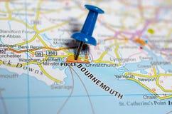 Bournemouth on map. Macro shot of Bournemouth on map with push pin stock image