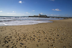 Bournemouth pier. From beach with blue sky Stock Photo