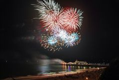 Bournemouth pier fireworks. South west royalty free stock photo