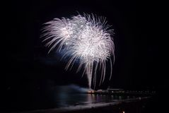 Bournemouth pier fireworks. South west Royalty Free Stock Image