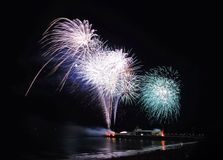 Bournemouth pier fireworks. South west stock image