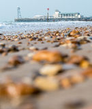 Bournemouth Pier. With shore in the foreground Royalty Free Stock Photos